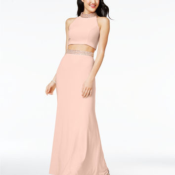 Crystal Doll Juniors' 2-Pc. Mock-Neck Gown, A Macy's Exclusive Style | macys.com