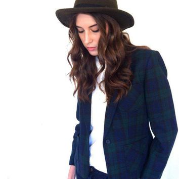 Vintage Blazer Plaid Green Blue Womens Prep Blazer 1980s Wool Pendleton Jacket. Size 6