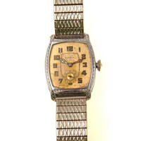 Vintage Art Deco Bulova Watch White Gold Fill Case 10AN