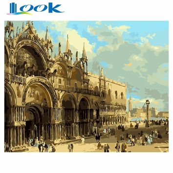 London street Modular Picture Painting By Numbers on Canvas DIY coloring drawing by numbers on the wall art poster decoration