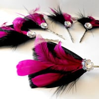 5 Wedding Hair Pieces - Bridesmaid Set Feather Hair Pins Feather Fascinator Black Hot Pink Fuschia