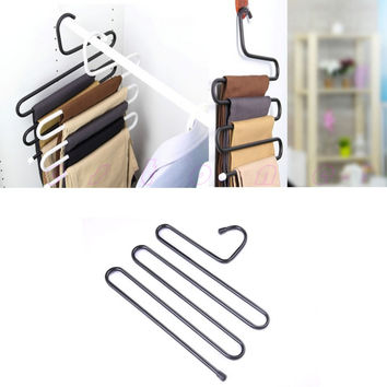 1pc Practical Multi-Purpose 5 Layers Pants Hanger Trousers Tie Rack Space Saving Free Shipping