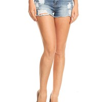 LE3NO Womens High Waist Ripped Frayed Cut Off Denim Shorts
