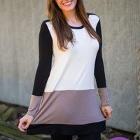 Colorblock Dress, Mocha/Black