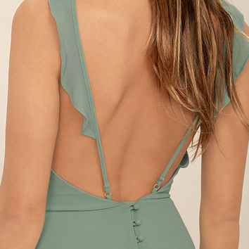 Meteoric Rise Sage Green Maxi Dress