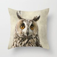 Birds Of Prey. Long Eared Owl Throw Pillow by Linsey Williams Wall Art, Clothing, And