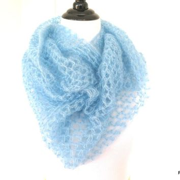 Light Blue Silk Mohair Infinity Scarf, Extra Large Silk Crochet Loop Scarf