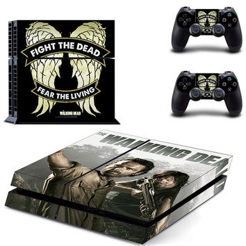 Walking Dead PS4 Playstation 4 Fight the Dead Fear the living Daryl Dixon Rick Vinyl Sticker Cover Skin Console 2 controllers