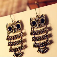 Vintage Antique Bronze Long Drop Owl Earrings