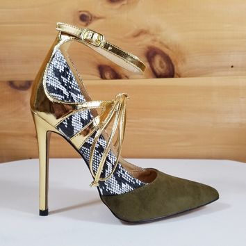 "Alba Jamie Olive Green Snake & Gold Pointy Toe High Heel Pumps Shoes - 4.5"" Heels"