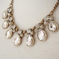 Clear Raindrop Crystal Jeweled Statement Necklace