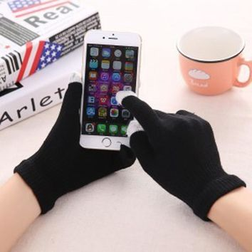 2017 New Magic Touch Screen Gloves Smartphone Texting Stretch Adult One Size Winter Warmer Knit Hot