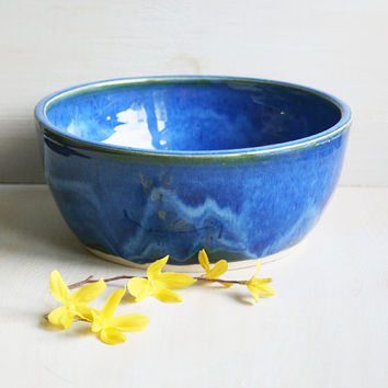 Ceramic Dog Bowl Blue Pet Bowl Handmade Pet Dish by sheilasart