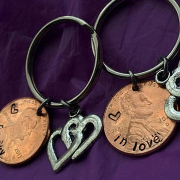 Couples Keychain Set - His and Hers Keychain - Wedding Gift - Personalized Keychain - Lucky, in love - Custom Keychain - Penny Jewel