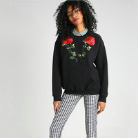 Round-neck Long Sleeve Style Floral Women's Fashion Hoodies [11735842255]