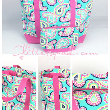 Pink and Turquoise Paisley Beach Tote / Monogramed Totes / Overnight Bag / Travel Bag /Cruise vacation bag / Summer Tote / Beach Bags