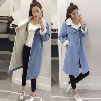 Trendy Spring Autumn Winter New 2018 Women lambswool jean Coat With 4 Pockets Long Sleeves Warm Jeans Coat Outwear Wide Denim Jacket AT_94_13