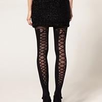 ASOS | ASOS Lace Up Back & Bow Tights at ASOS