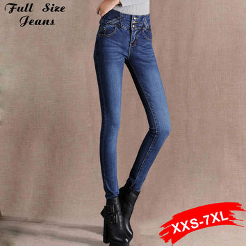 High Waist Skinny Jeans Extra Long Pencil Pants Plus Size Blue Denim Trousers 14 16 18 20 22W 24L L32 34 36 38 40W Xxxl 4Xl 5Xl