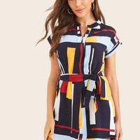 Geometric Print Curved Hem Belted Dress