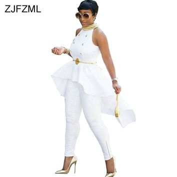 ZJFZML 2018 New arrival high fashion white sleeveless bandage dress sexy front short back long dress summer women dress vestidos