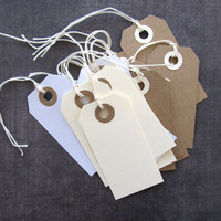 White Tags, Gift Tags, Party Favor Tags, Weddings, Showers, Reinforced Holes, String Included