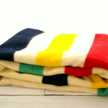 Wool Stripe 4 Point Blanket - Made In England- Yellow Blue Red Green