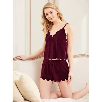 Scalloped Trim Velvet Cami Top & Shorts Pajama Set