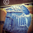 This picture belong to Jeansonly,High waisted destroyed denim shorts by Jeansonly