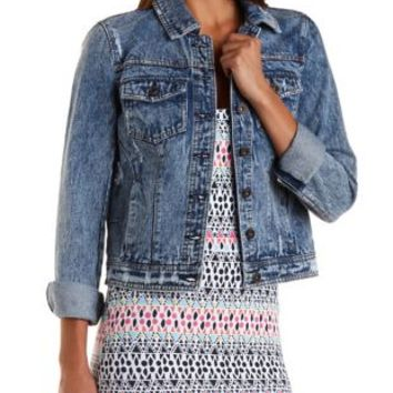 Med Wash Denim Long Sleeve Distressed Denim Jacket by Charlotte Russe