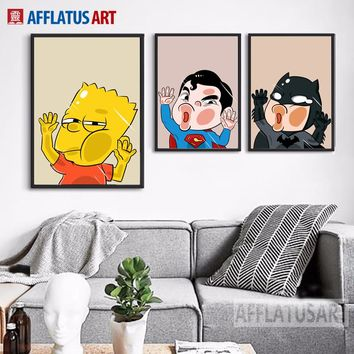 AFFLATUS Simpson Batman Superman Nordic Poster Wall Art Print Canvas Painting Pop Art Wall Pictures For Kids Room Bedroom Decor