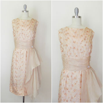 Vintage 1950s Wiggle Cocktail Organza Embroidered Dress