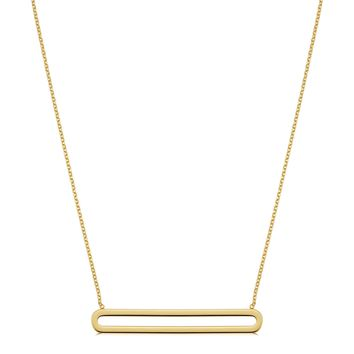 """14K Yellow Gold Oval Bar Pendant On 18"""" Necklace"""