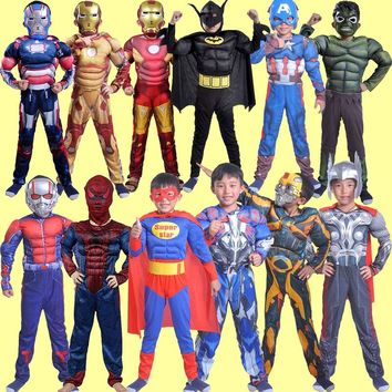 Boys Muscle Super Hero Captain America Costume SpiderMan Iron Man Hulk Avengers Costumes Cosplay for Kids Children Boy fancy kid