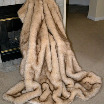 Faux Fur Throw, Wolf Faux Fur, Fake Fur Blanket Throw, Animal Print, Ready to Ship!