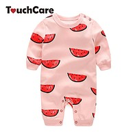 Cute Cartoon Watermelon Printed Baby Boys Girls Rompers Infant Soft Cotton Long Sleeve Jumpsuit Newborn Candy Color Kid Clothes