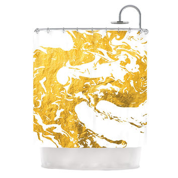 "KESS Original ""Gold Ink on Water"" White Metal Shower Curtain"