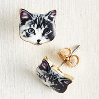 Best-Dressed in Show Earrings in Cat | Mod Retro Vintage Earrings | ModCloth.com