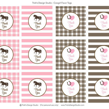 Cowgirl/Pony Birthday Party Printable Pink and Brown Favor Tags: INSTANT DOWNLOAD