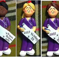Personalized Christmas Ornament Female Nurse Purple Scrubs,Medical Student,Graduate,Gift/Ornament - Customize Hair Color & Skin Tone