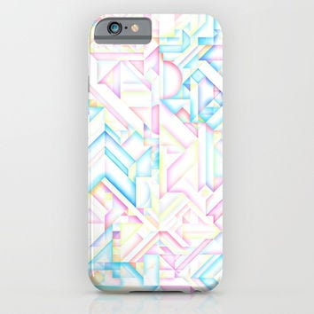 MINIMALIST GEOMETRIC PASTEL BRIGHT SHAPES PATTERN GRAPHIC DESIGN iPhone Case by AEJ Design