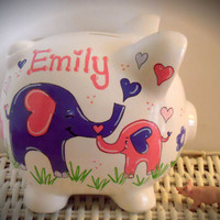 Personalized Hand Painted Piggy Bank With Elephants
