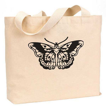 "Harry Styles Butterfly Tattoo Cotton Canvas Jumbo Tote Bag 18""w x 11""h"