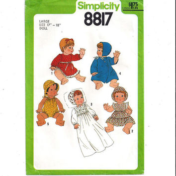 Simplicity 8817 Pattern for Doll Wardrobe for Large 17 to 18 In. Doll, Dress, Coat, Romper, From 1978, Vintage Doll Clothes, Vintage Pattern