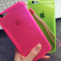 Colorful Soft Drop resistance  iphone case with chain