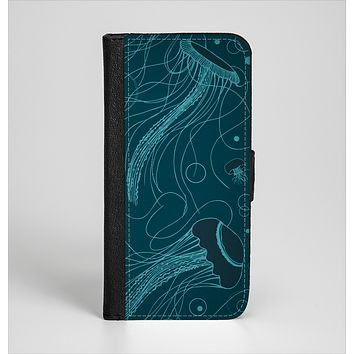 The Dark Vector Teal Jelly Fish Ink-Fuzed Leather Folding Wallet Case for the iPhone 6/6s, 6/6s Plus, 5/5s and 5c