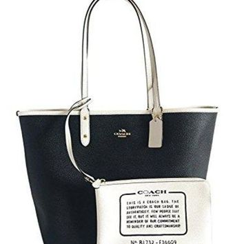 156cb21eb COACH Reversible City Tote in Coated Canvas (Black/White/Gold)