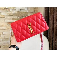 YSL hot selling lady's casual shopping bag fashion solid color zigzag line shoulder bag Red