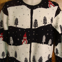 Black and White Trees with Snowmen Ugly Christmas Sweater