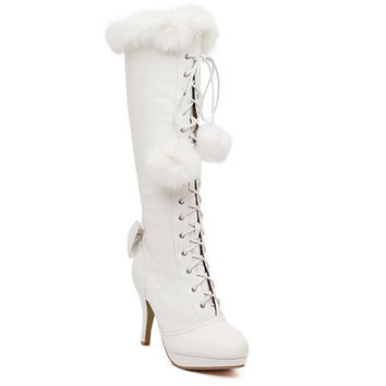High Heel Lace Up Boots With Faux Fur and Bowknot Design